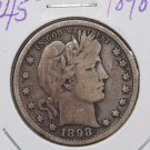 1898-S 25C Barber Silver Quarter. Nice Very Good Circulated Coin. SALE#1788