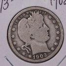 1902 25C Barber Silver Quarter. Nice Good Circulated Coin. #1796