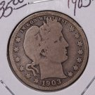1903-S 25C Barber Silver Quarter. Very Good Circulated Coin. #1800