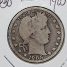 1905-S 25C Barber Silver Quarter. Good Circualted Condition. #1806