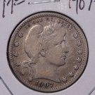 1907-O 25C Barber Silver Quarter. Choice Very Good Coin. Sale#1810