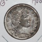 1908-D 25C Barber Silver Quarter. Very Good Circulated Coin. SALE#1814