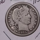 1915-D 25C Barber Silver Quarter. Very Good Circulated Coin. STORE#1836