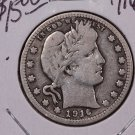 1916 25C Barber Silver Quarter. Very Good Circulated Condition. Sale #1842