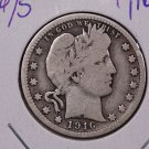 1916-D Barber Silver Quarter. Very Good Circulated Condition. SALE# 1844