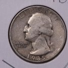 1935 25C Washington Silver Quarter. Very Good Circulated Coin. SALE#1886