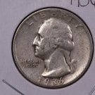 1936 Washington Silver Quarter. Fine Plus Circulated Coin. SALE #1904