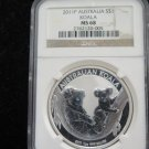 2011 Australia Koala. 1 Troy Ounce Pure Silver. NGC Graded MS68