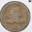 1858 1C Flying Eagle Cents. Large Letters. Good Circulated Coin. Store#2465