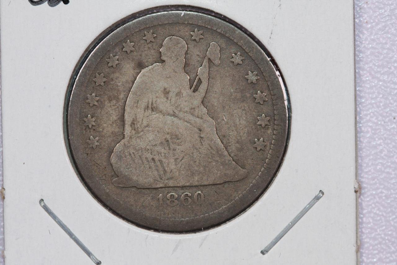 1860-O 25C Liberty Seated Quarter, Very Good Circulated Coin, Store Sale.#2339