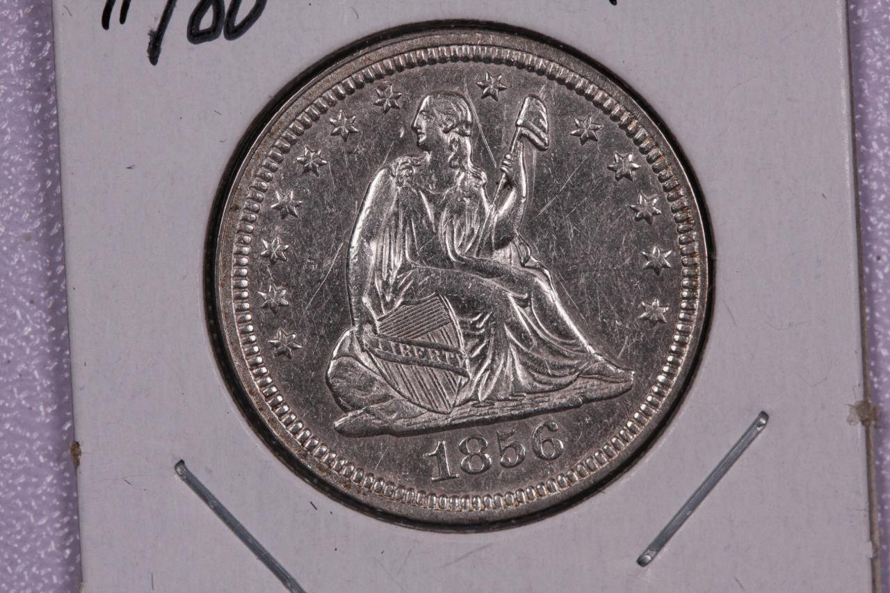 1856 25C Liberty Seated Quarter,  Nice UN-Circulated Coin. Store Sale. #2319