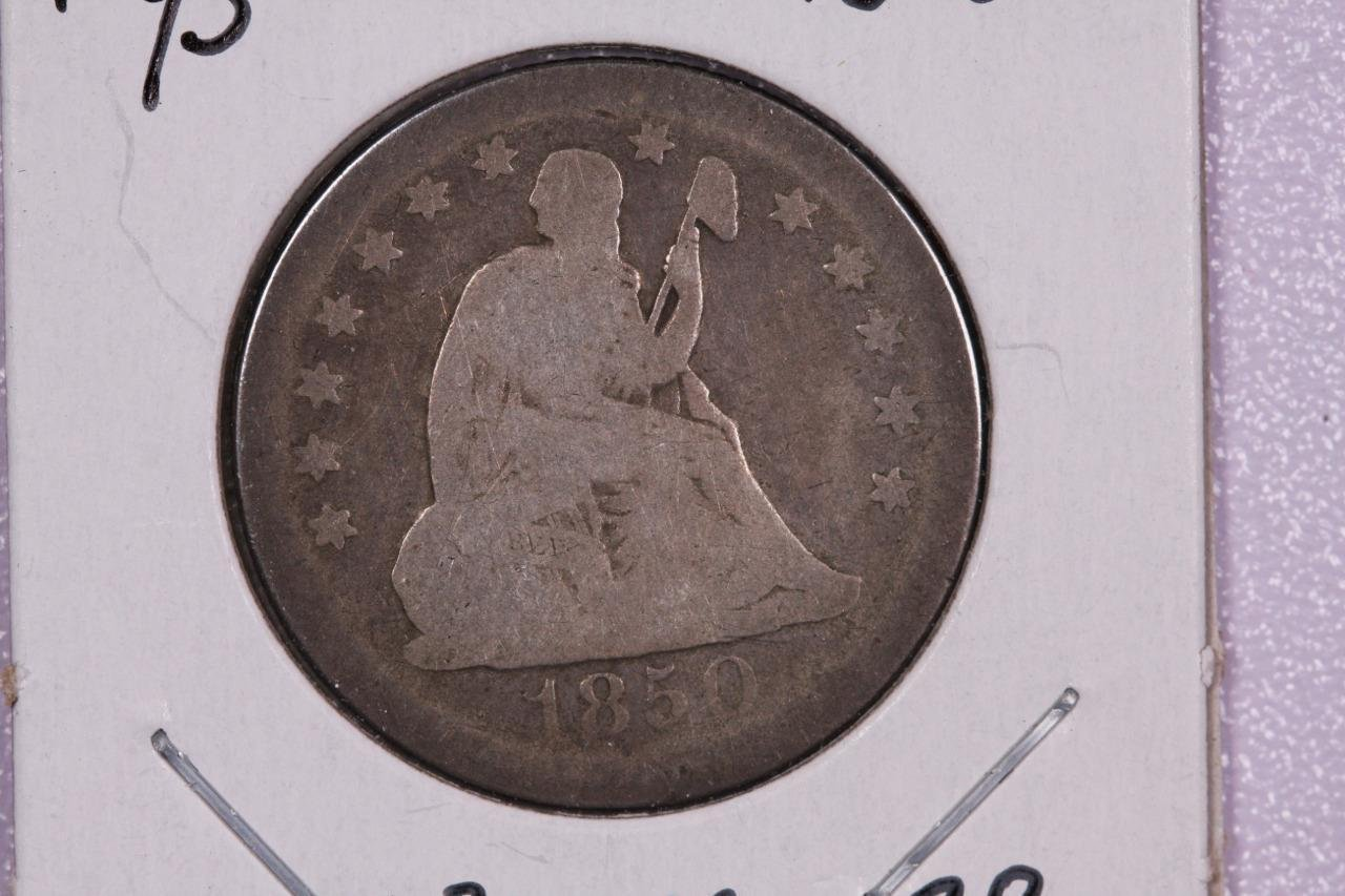 1850-O 25C Liberty Seated Quarter, Good Circulated Condition. Store Sale#2303