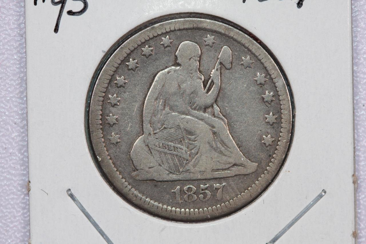 1857 25C Liberty Seated Quarter,  Good Circulated Coin. B-3B,Store Sale. #2323