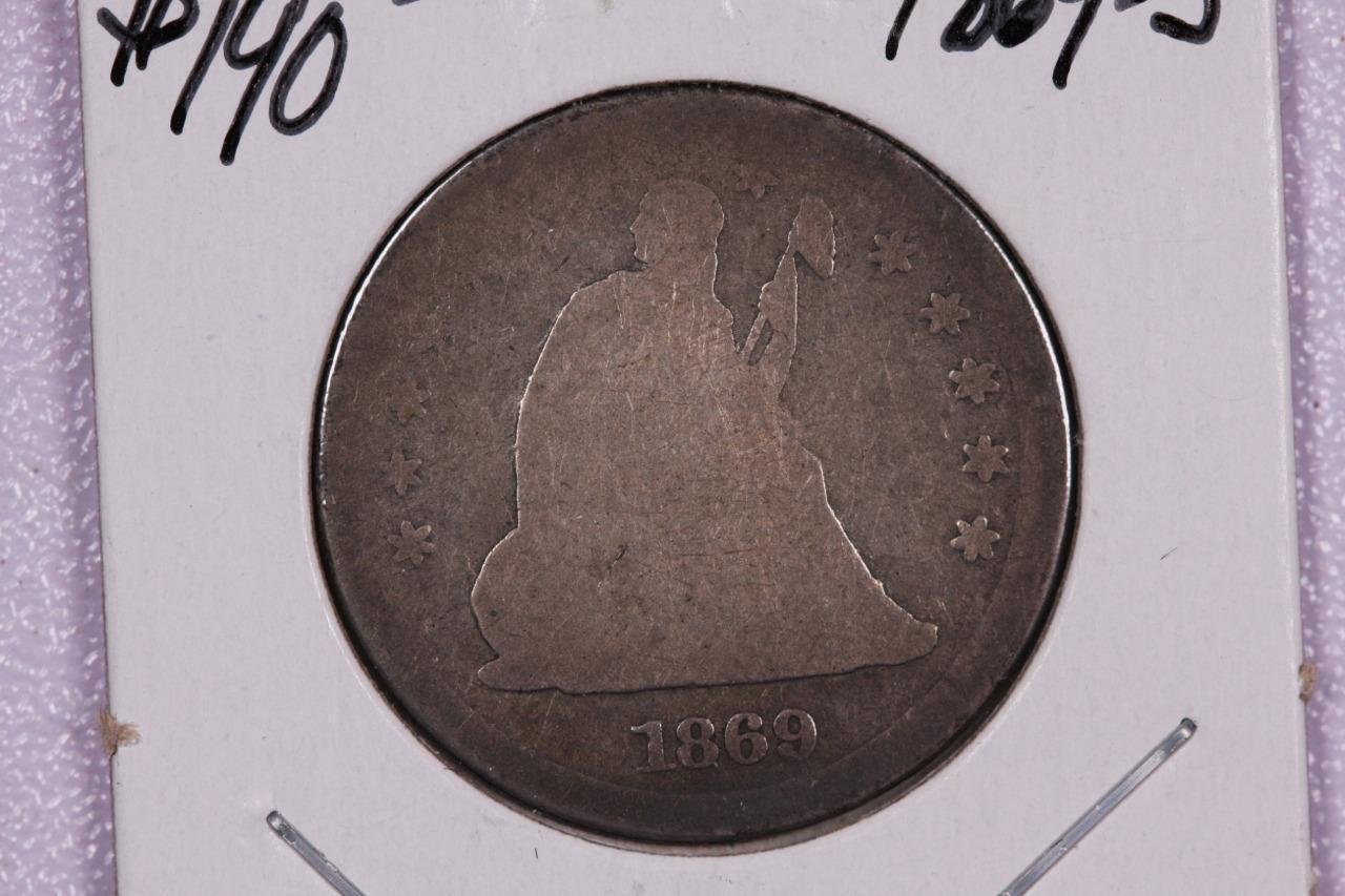 1869-S 25C Liberty Seated Quarter, Rare Date, A.G. Circulated Coin, Store #2349