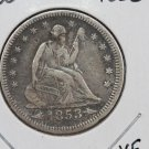1853 25C Liberty Seated Quarter, X.F. Circulated Condition. Store Sale#2305