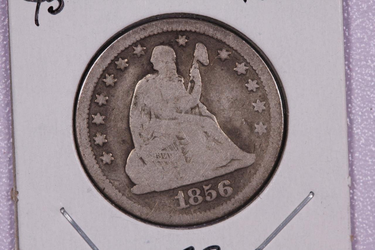 1856-O 25C Liberty Seated Quarter,  Good Circulated Coin. B-3B,Store Sale. #2321
