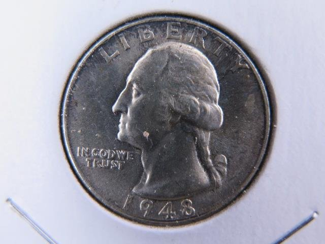 1948-D 25C Washington Silver Quarter. Gem Brilliant UN-Circulated. NICE #9514