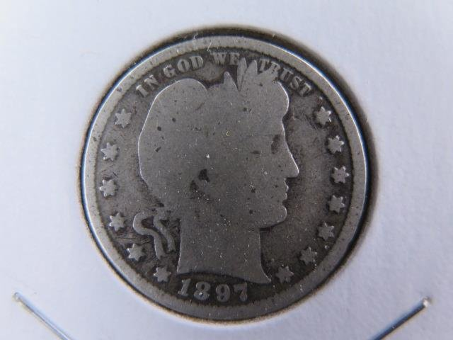 1897 25C Barber Silver Quarter. Good Circulated Condition. Store Sale #9438