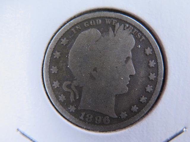 1896 25C Barber Silver Quarter. Good Circulated Condition. Store Sale #9434