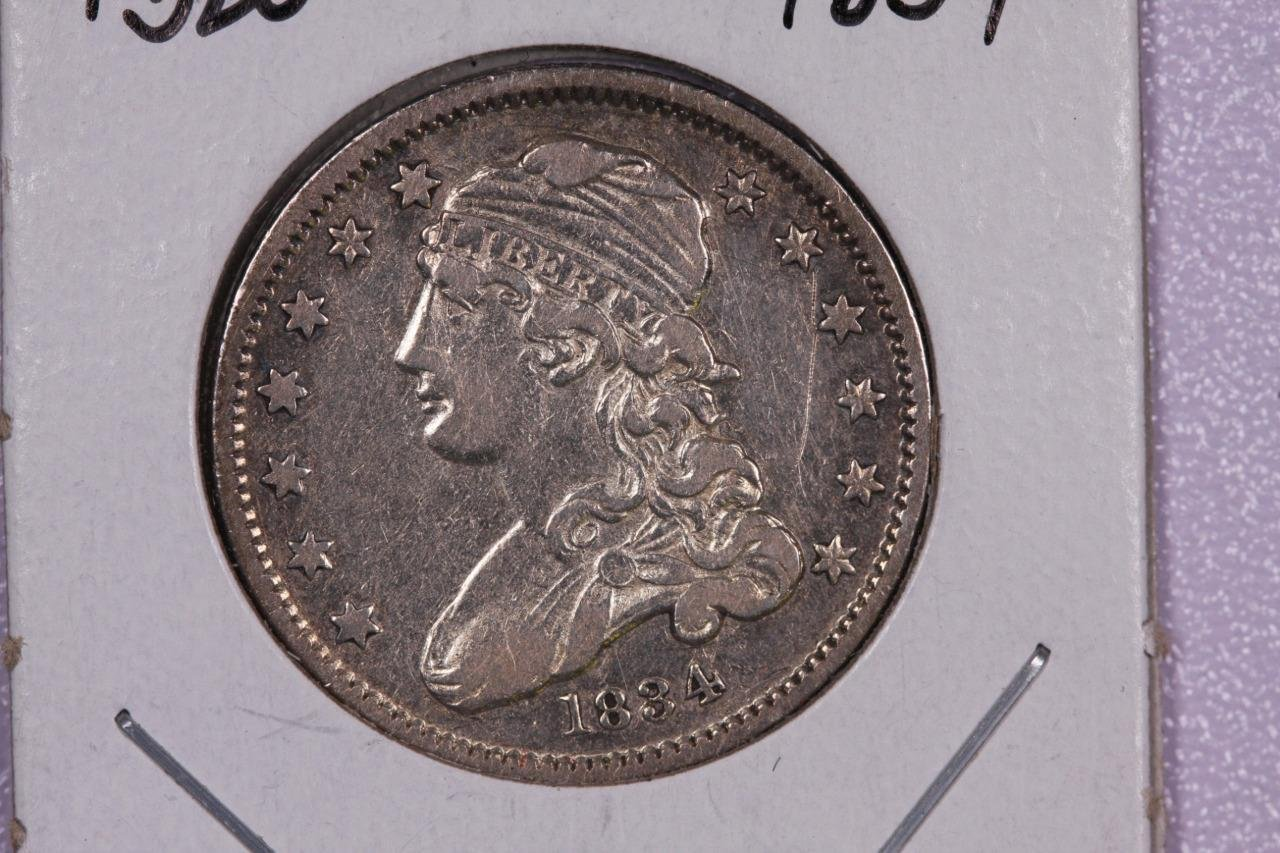 1834 25C Capped Bust Quarter, Extra Fine Circulated Details, Scratch. Nice #2277
