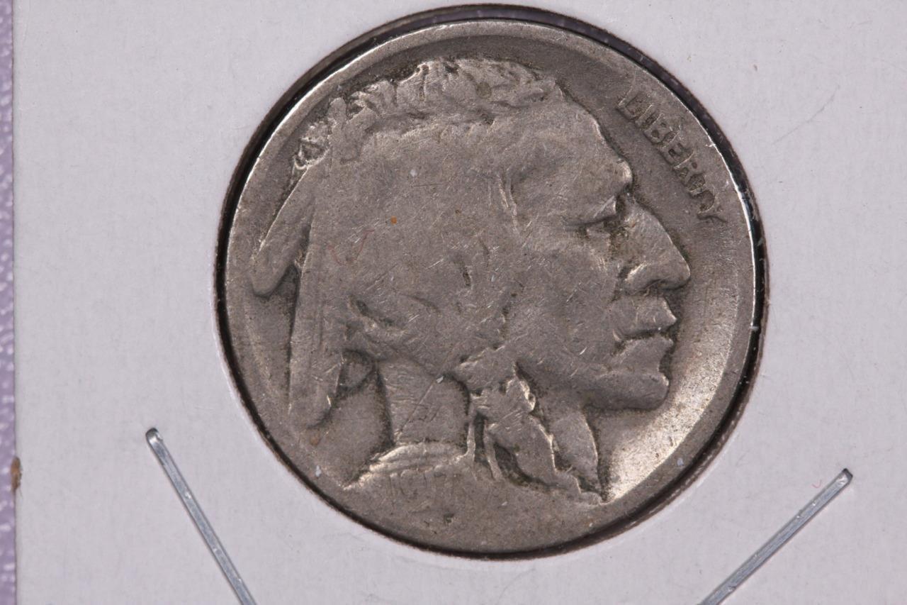 1917-S 5C Buffalo Nickel. Good Circulated Coin, Partial Date. Coin SALE #2093