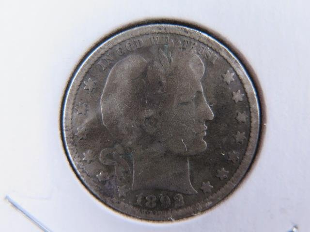 1892-O 25C Barber Silver Quarter. Good Circulated Condition. Store Sale #9414