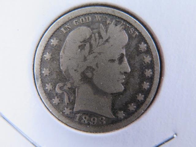 1893 25C Barber Silver Quarter. Good Circulated Condition. Store Sale #9420