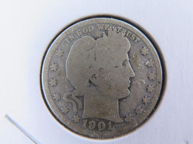1901 25C Barber Silver Quarter. Good Circulated Condition. Store Sale #9456