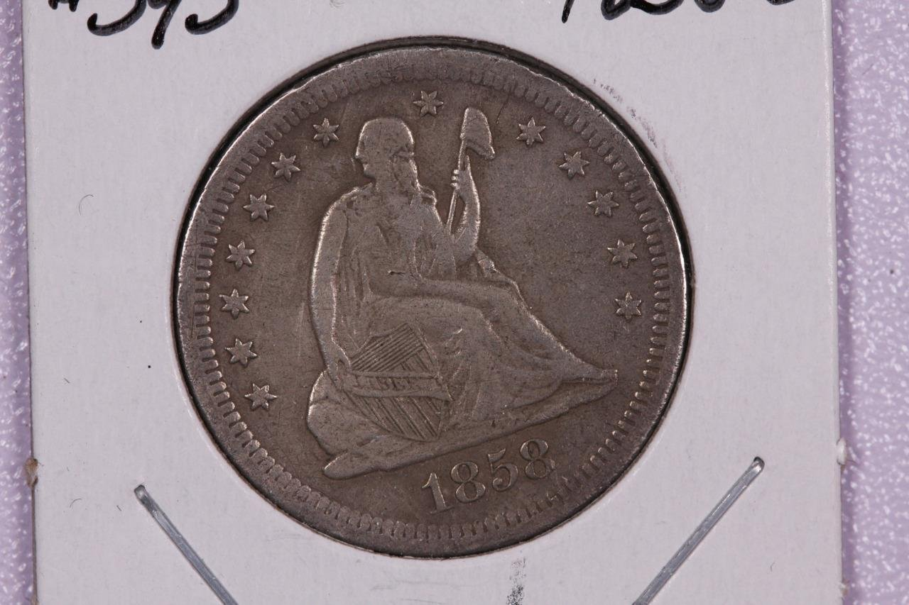 1858-S 25C Liberty Seated Quarter, RARE DATE, V.F. See Photos Store Sale. #2331