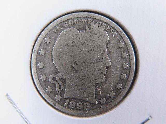1898-S 25C Barber Silver Quarter. Good Circulated Condition. Store Sale #9448