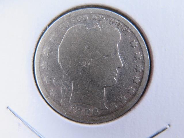 1896-O 25C Barber Silver Quarter. Good Circulated Condition. Store Sale #9436