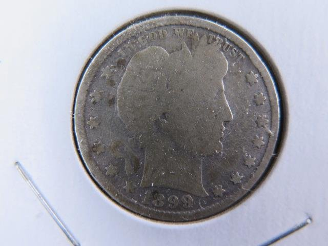 1899 25C Barber Silver Quarter. Good Circulated Condition. Store Sale #9452