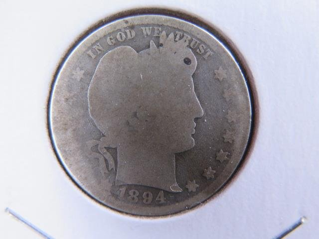 1894 25C Barber Silver Quarter. Good Circulated Condition. Store Sale #9424