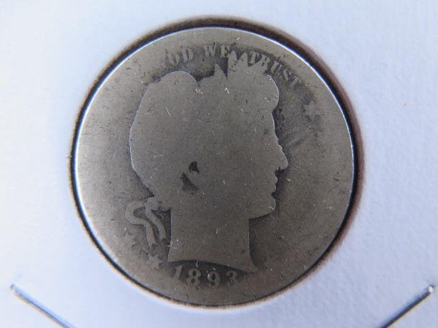 1893-S 25C Barber Silver Quarter. Good Circulated Condition. Store Sale #9422