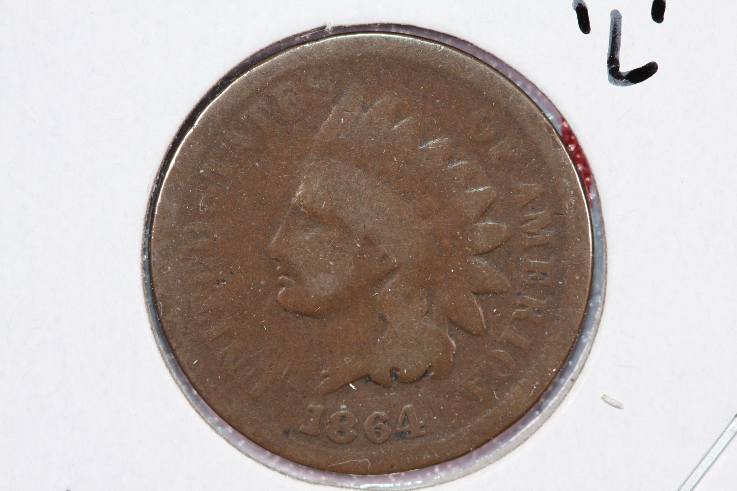 1864 1C Indian Head Cents.  Pointed Bust Variety. Good Circulated Coin. #2495