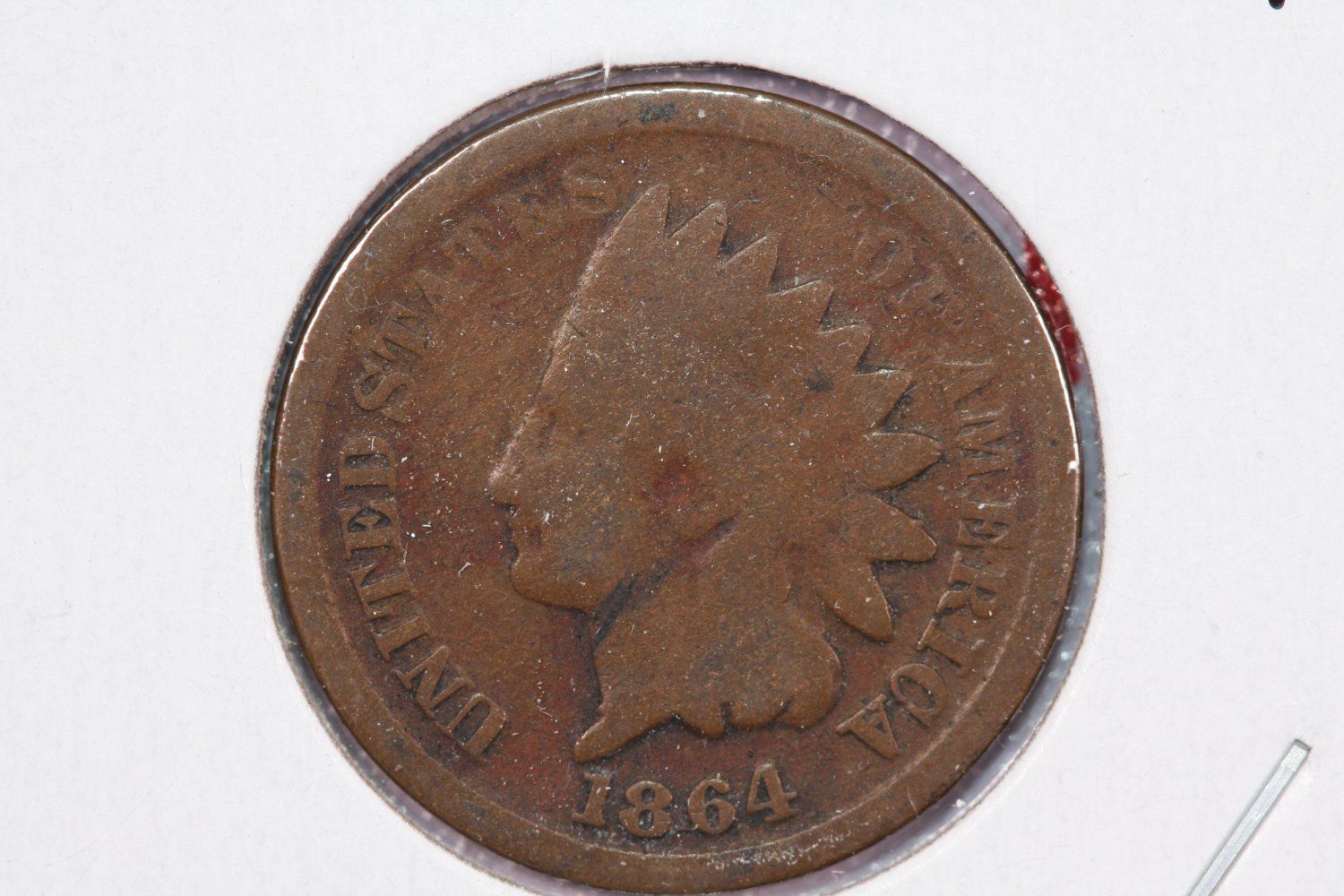 1864 1C Indian Head Cents.  Pointed Bust Variety. Good Circulated Coin. #2497