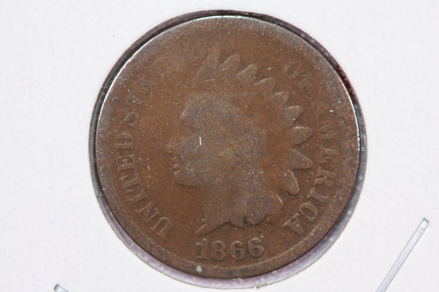 1866 1C Indian Head Cents, About Good Circulated Coin. Store Sale #2503