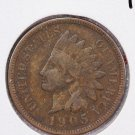 1905 1C Indian Head Penny. Very Good Circulated Coin. Large Coin Store Sale #2657