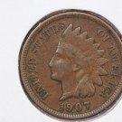 1907 1C Indiain Head Cents. Choice Very Good Circulated Coin. Super Sale #2665