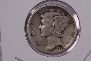 1929 10C Mercury Silver Dime. Good Circulated Coin. STORE #2749