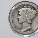 1929-S 10C Mercury Silver Dime. Good Circulated Coin. STORE #2753