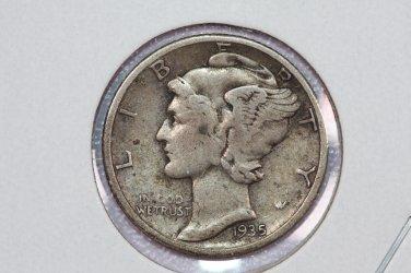 1935-D 10C Mercury Silver Dime.  good circulated coin.  sale #2769