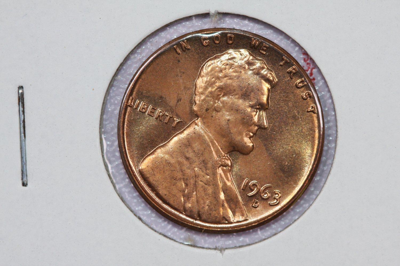1963-D 1C Lincoln Memorial Penny. Brilliant UN-Circulated ...