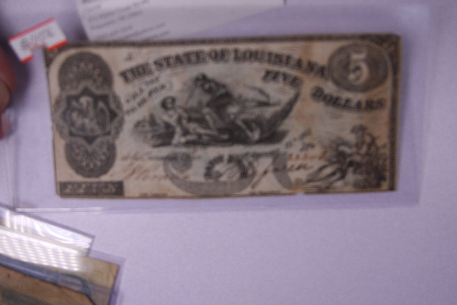 1862 $5 The State Of Louisiana, Five Dollars. Obsolete Currency. #22246