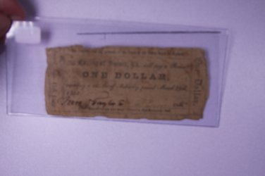 1862 $1 The County Of Sussex, VA. Bearer Note. One Dollar. Obsolete Currency.