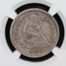 1891 Seated Liberty Quarter. Nice Problem Free Early Type Coin. NGC AU-55.