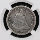 1877 Seated Liberty Quarter.  Very Fine Details.  NGC Graded. Nice Coin.