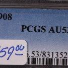 1908 Liberty Head Dime.  Choice Strike.  PCGS Certified, AU 53.