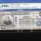 1921 National Bank Note.  NORFOLK, VA. Charter 6032. PMG Certified F-12.