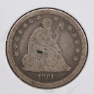 1861 Seated Liberty Quarter.  CIVIL WAR DATE.  Circulated Coin.  #7541